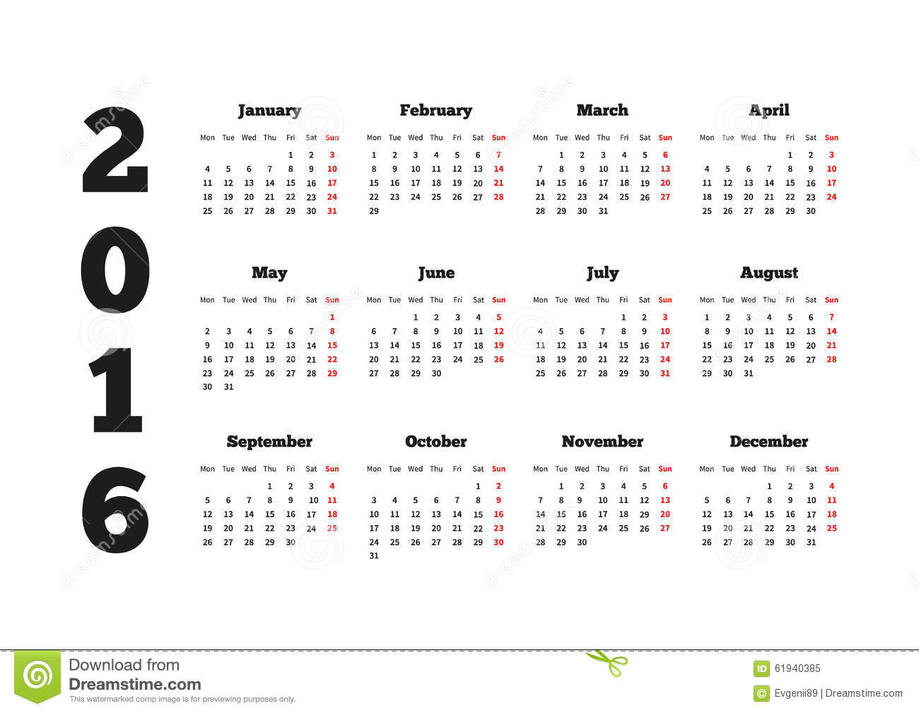 Calendar On 2016 Year With Week Starting From Stock Vector - Image ...