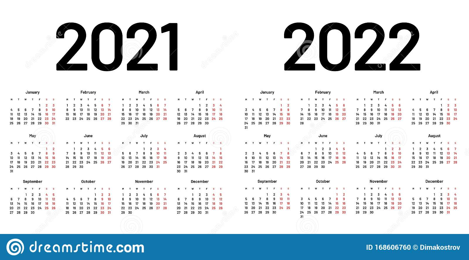 Calendar For 2021 And 2022 Year. Week Starts On Monday ...
