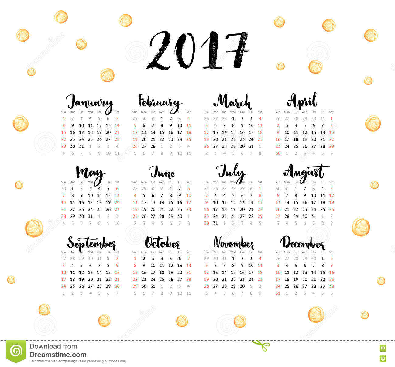 2017 Calendar Year – Printable Pages