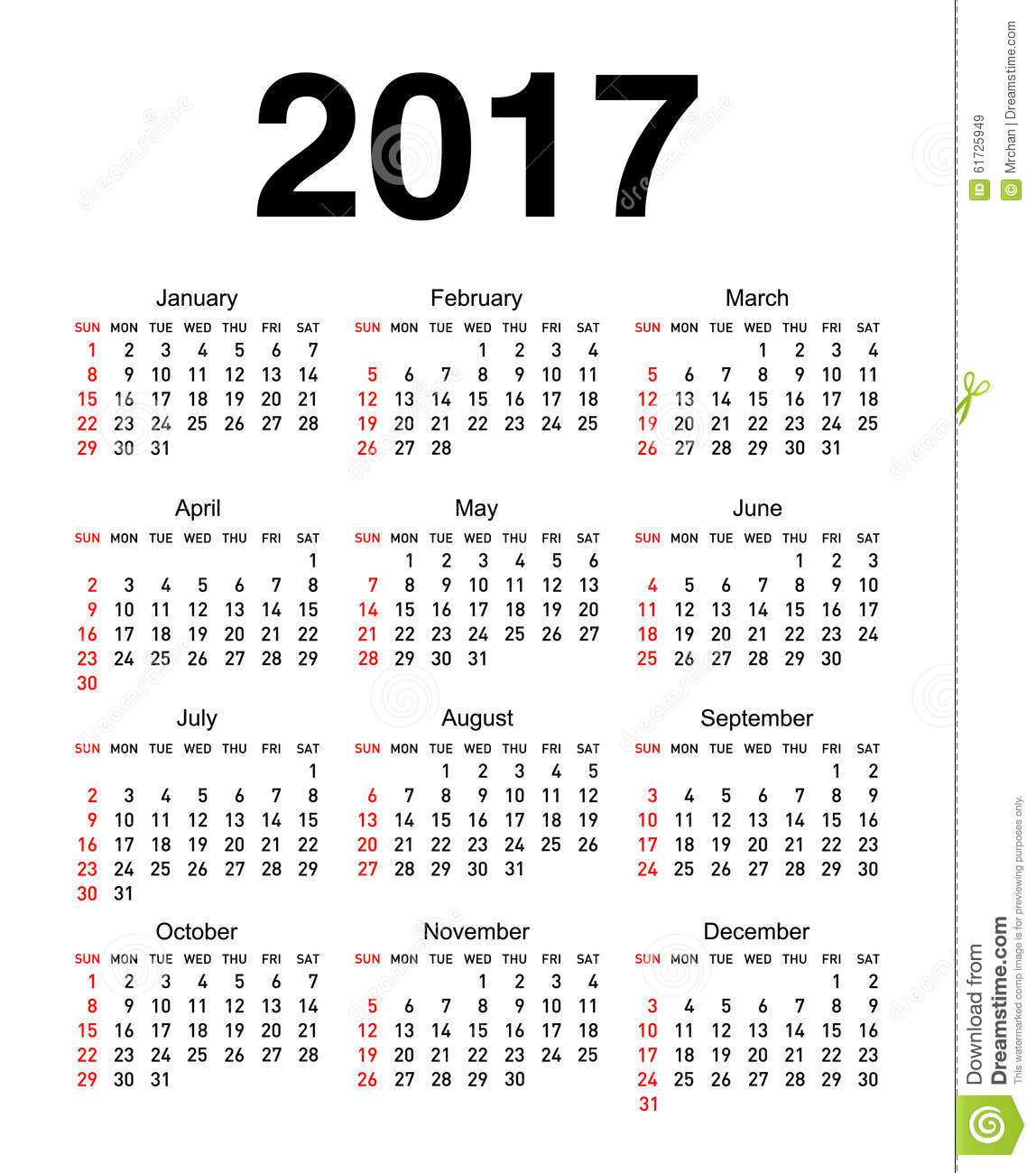 Download Calendario.Calendar For 2017 Stock Vector Illustration Of Number