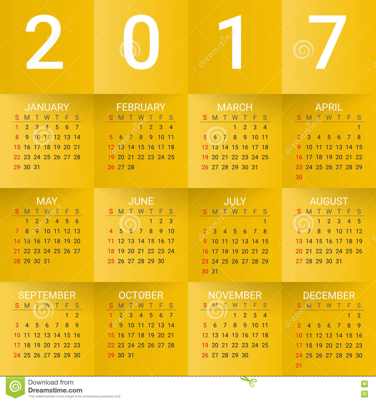 Stock Vector: Calendar for 2017 Year on Yellow Background. Week starts ...