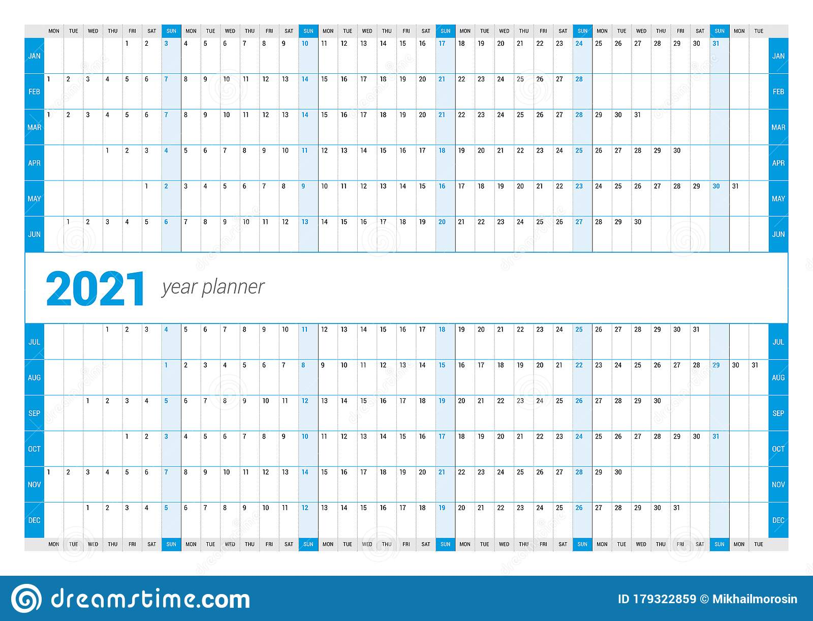 Calendar Yearly Planner Template For 2021. Printable ...