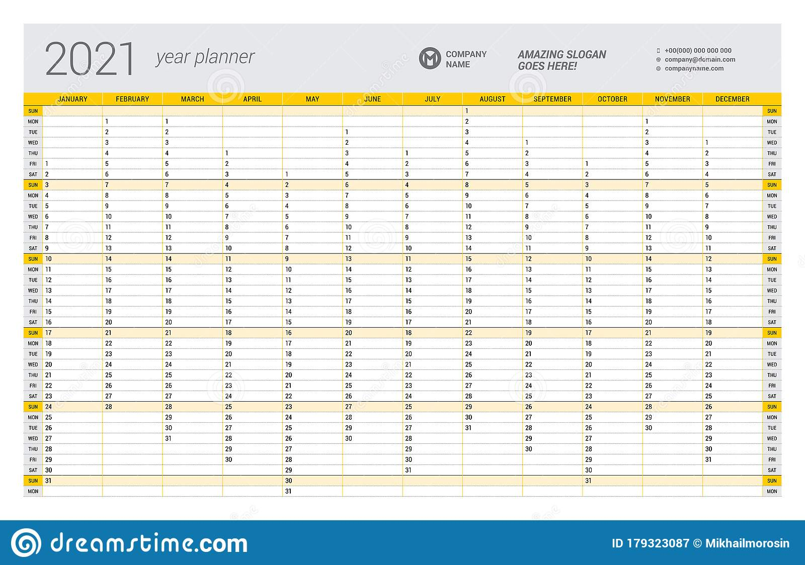 Free Yearly Calendar Template from thumbs.dreamstime.com