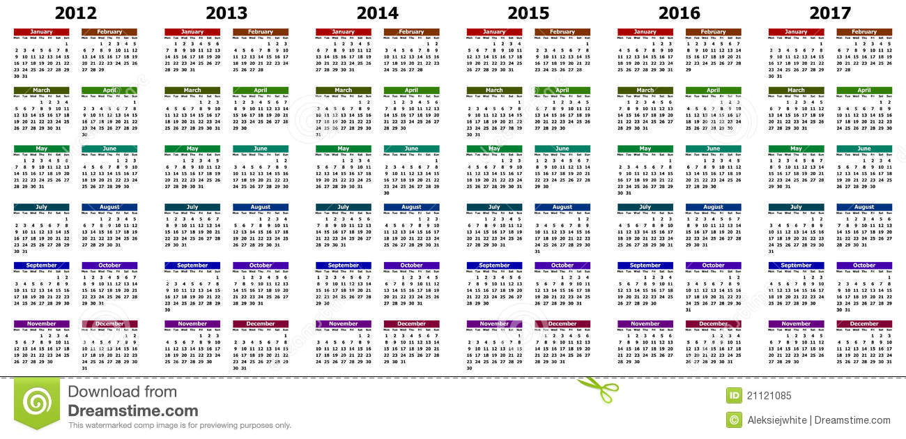 calendar for years 2012 2017 stock illustration illustration of