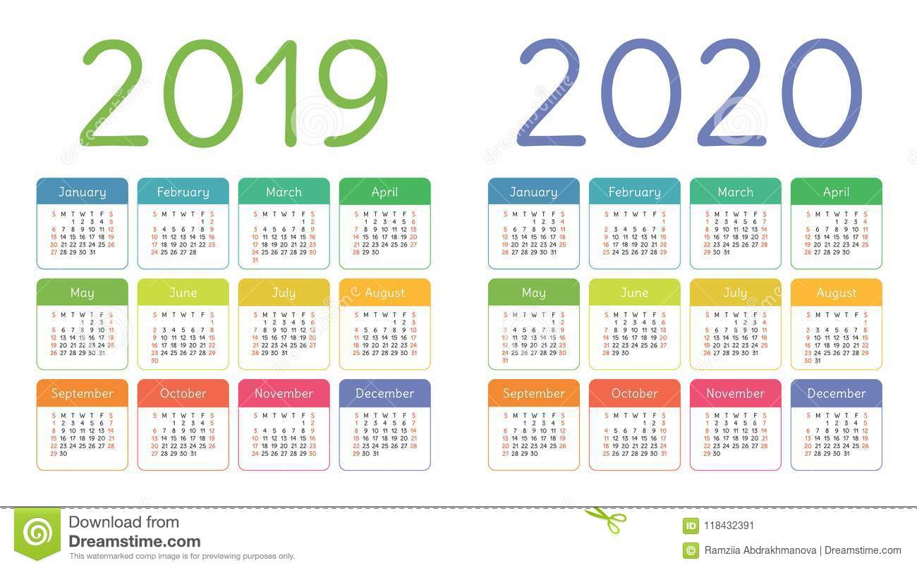 Calendar 2019, 2020 years. Colorful calender set. Week starts