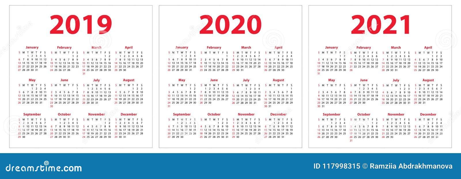 Calendar With Week Numbers 2020.Calendar 2019 2020 2021 Years Colorful Set Week Starts On Sunday