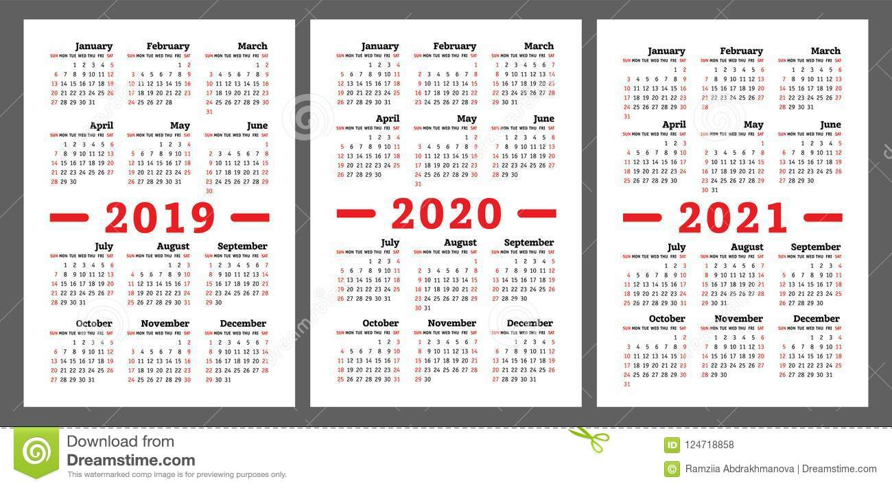 Calendario Ramadan 2020.Calendar 2019 2020 2021 Years Colorful Vector Set Week Start