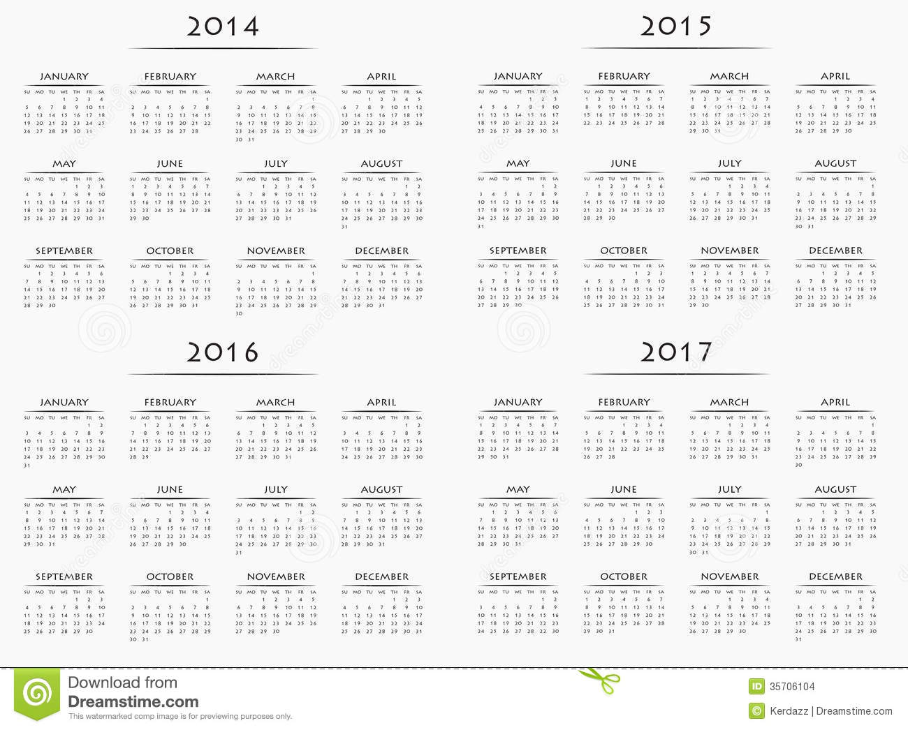 Calendar For Years 2014-2017 Stock Images - Image: 35706104