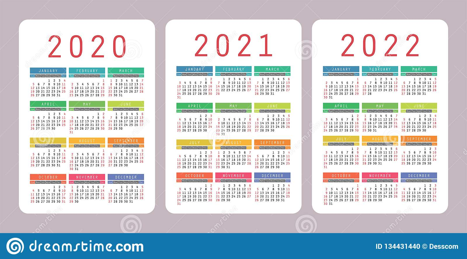 Calendar 2020, 2021, 2022 Years. Vertical Vector Calender Design
