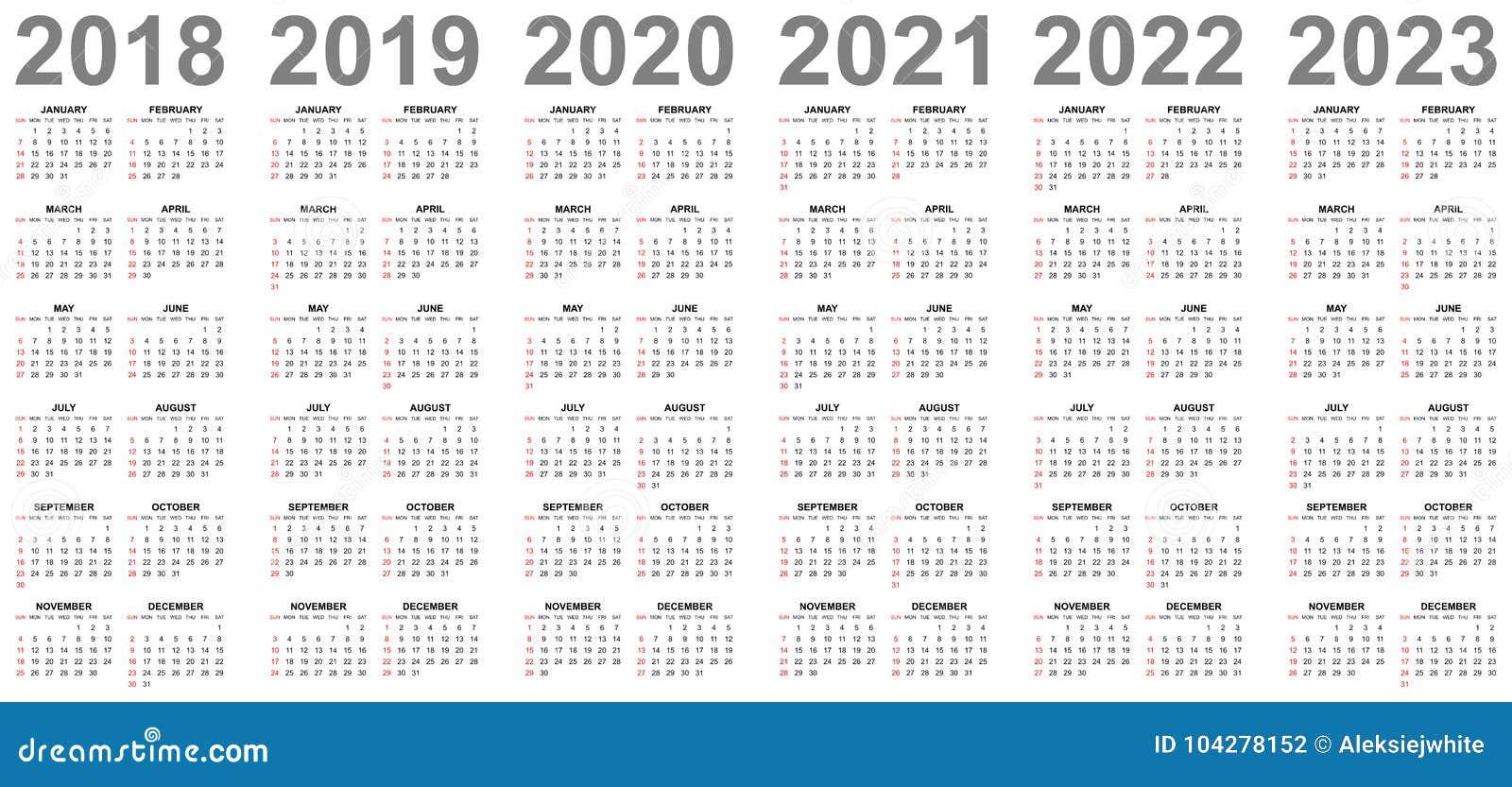 Vendita Calendario 2020.Calendari Semplici Per Anni 2018 2019 2020 2021 2022