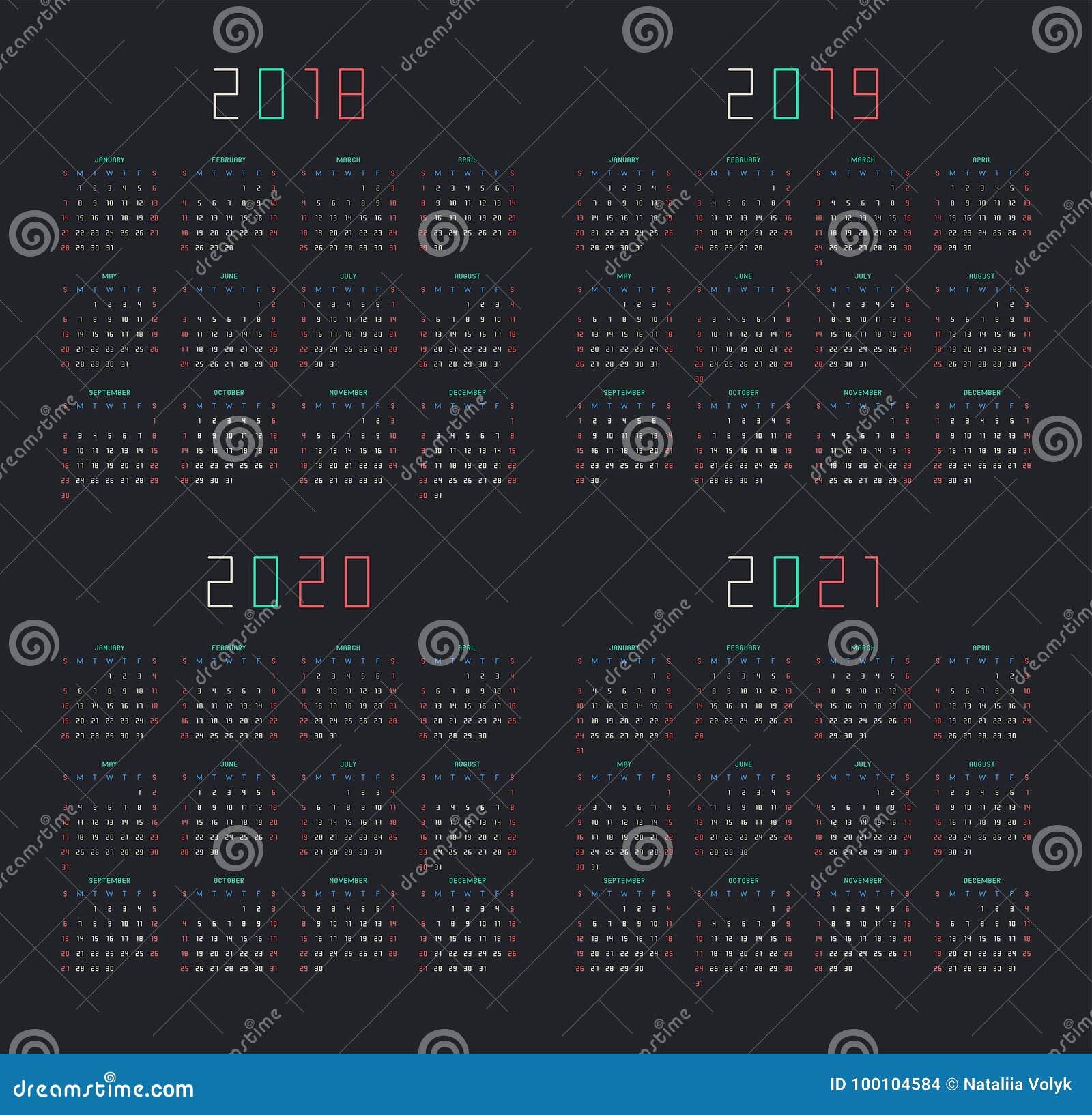 Calendario 2018, 2019, 2020, 2021