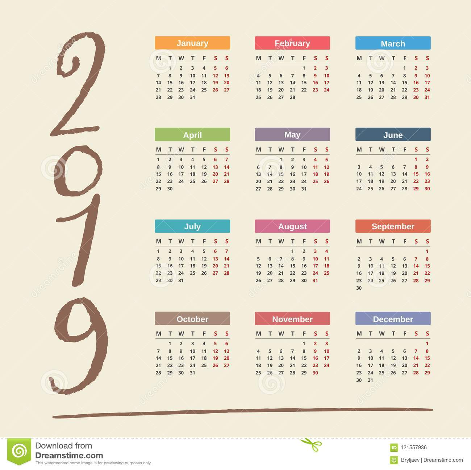 Calendario.Calendario 2019 Ilustracion Del Vector Ilustracion De