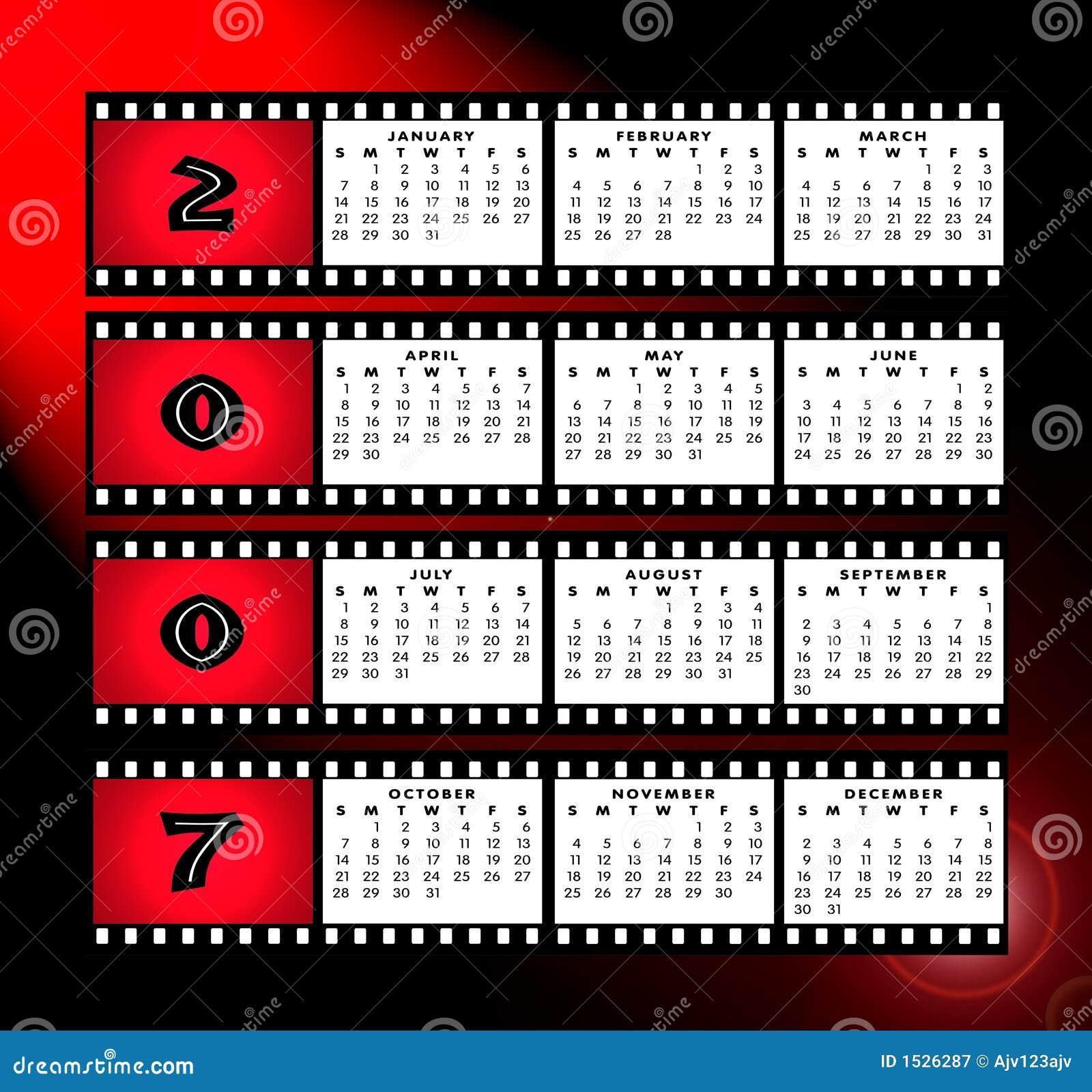 Calendario 2007 Con El Marco De La Tira De La Película Stock de ...