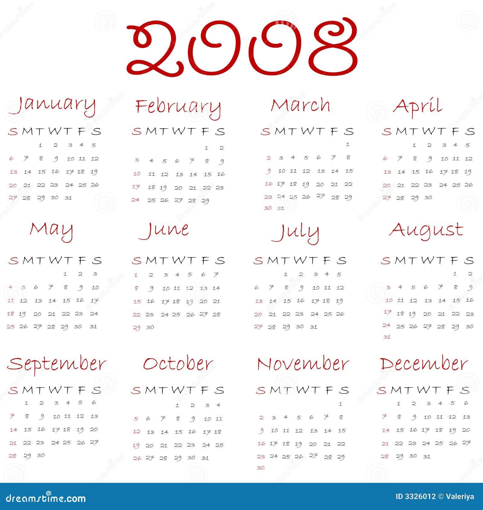 Calendario 2008.Calendario 2008 Ilustracion Del Vector Ilustracion De Fecha 3326012