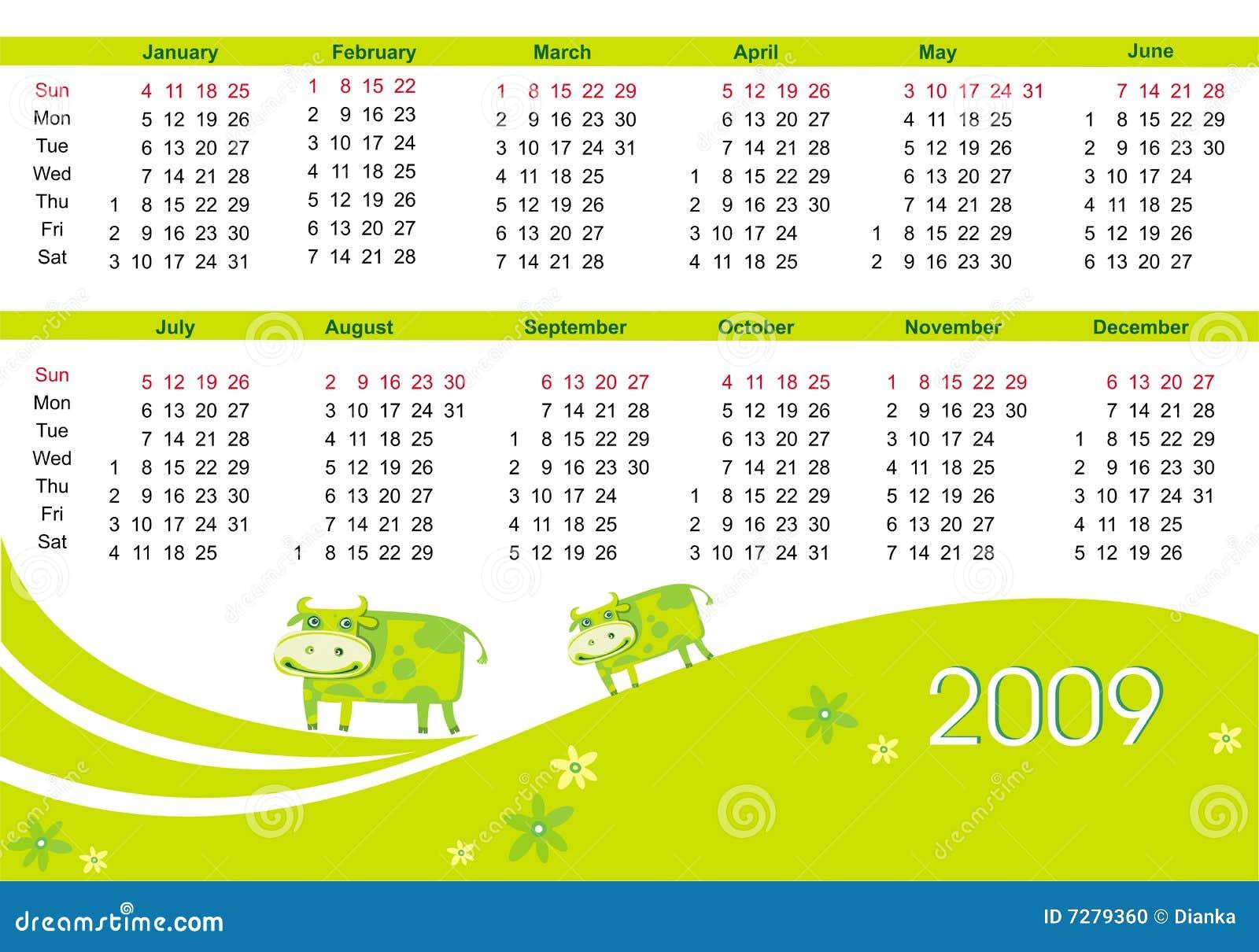 Calendario 2009 con la vaca