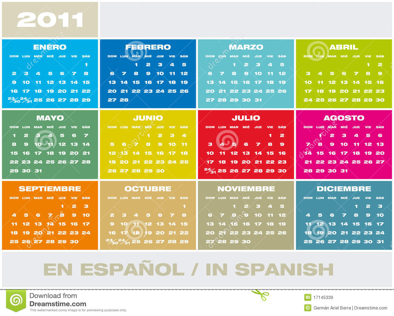Calendario 2011 del vector en español