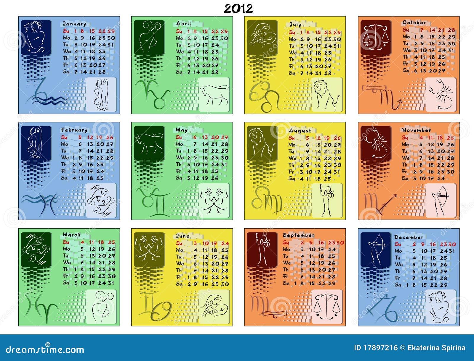 Calendario Zodiacal.Calendario 2012 Con Las Muestras Del Zodiaco Ilustracion Del Vector