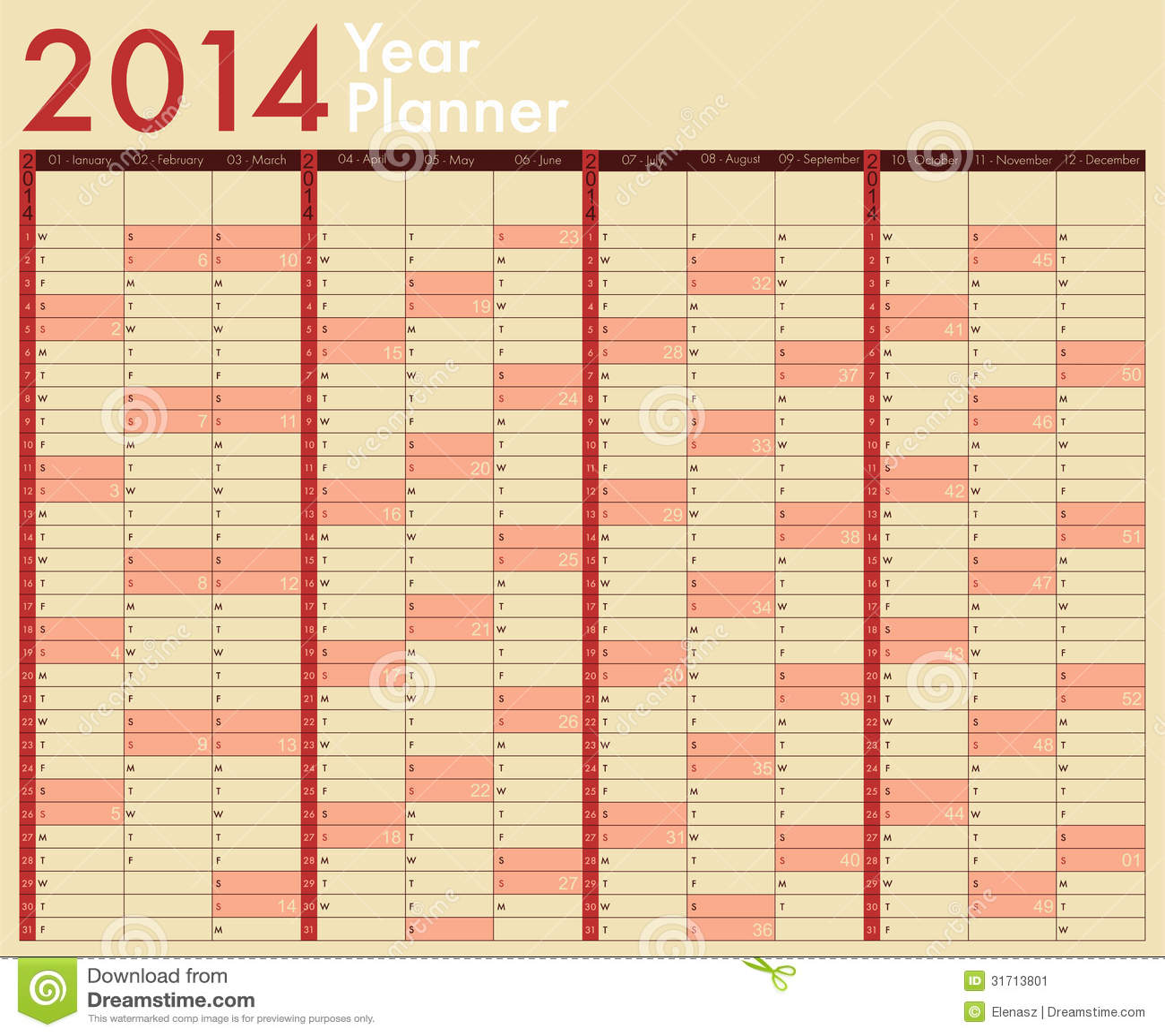 Calendario 2014 immagine stock immagine 31713801 for Capannone pianificatore di layout