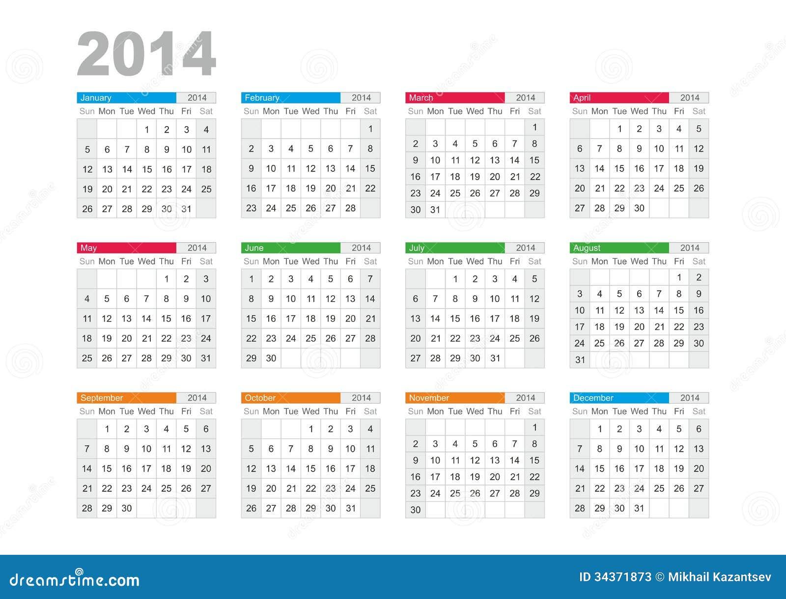 Calendario 2014 Fotos de archivo - Imagen: 34371873