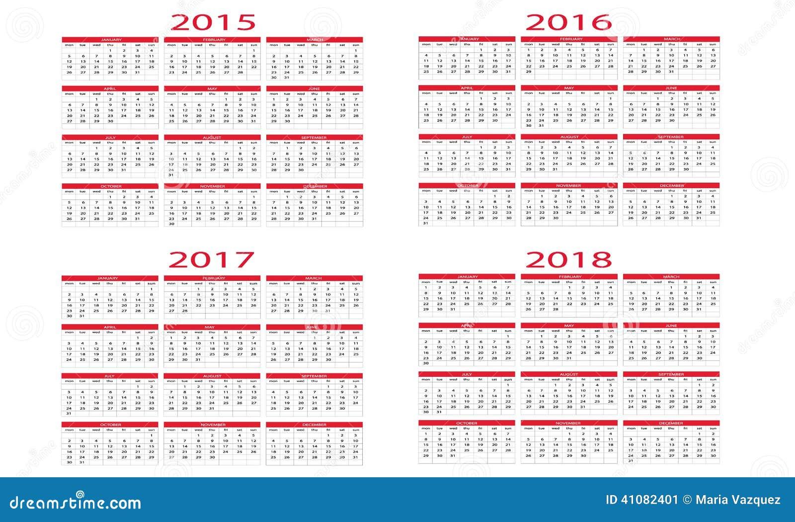 Calendario 2015 A 2018 Ilustración del Vector - Imagen: 41082401