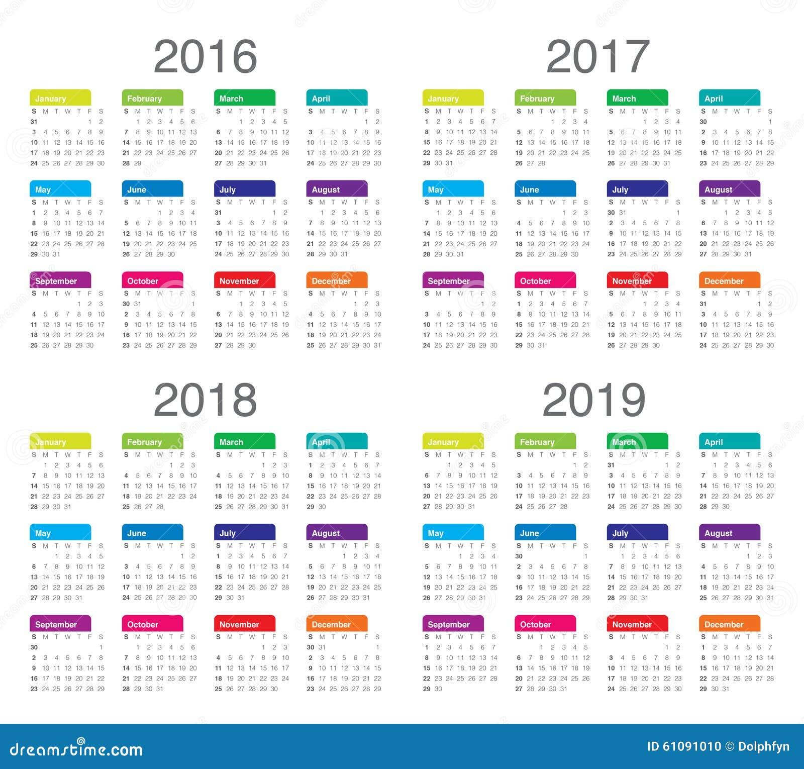Calendario 2016 2017 2018 2019 Ilustración del Vector - Imagen ...