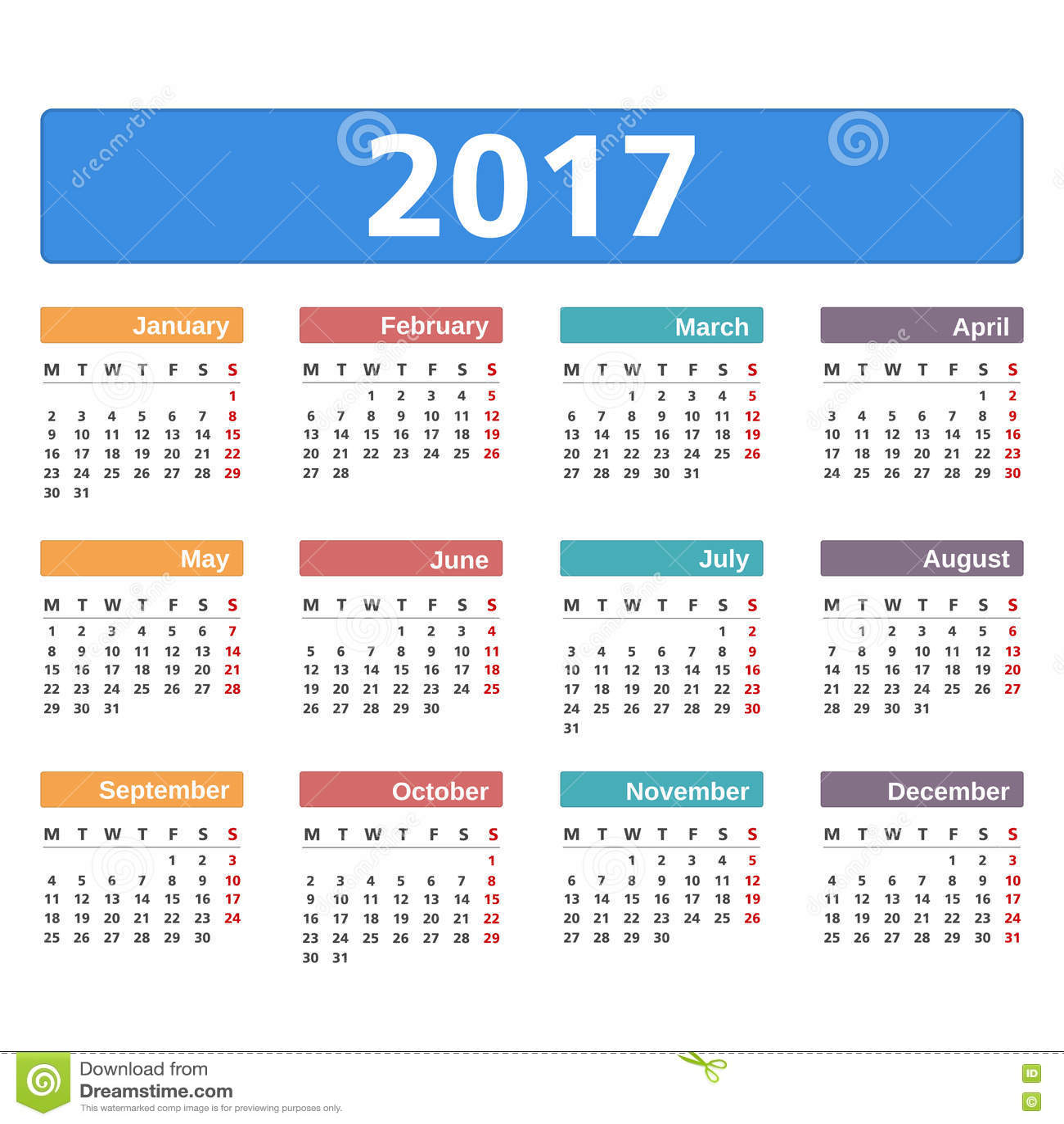 Resultado de imagen de calendario 2017
