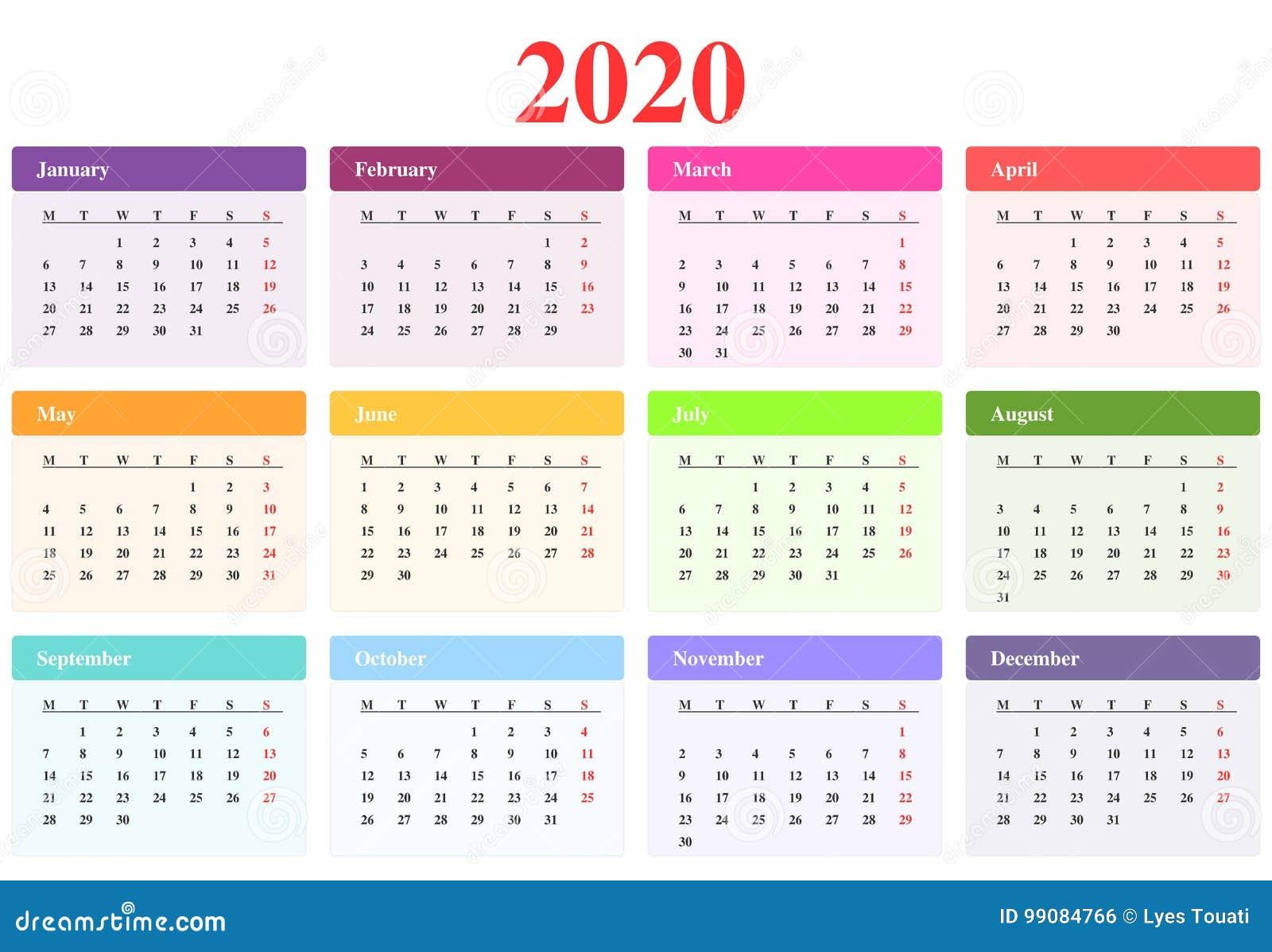 Calendario Mese Aprile 2020.Calendario 2020 Illustrazione Vettoriale Illustrazione Di