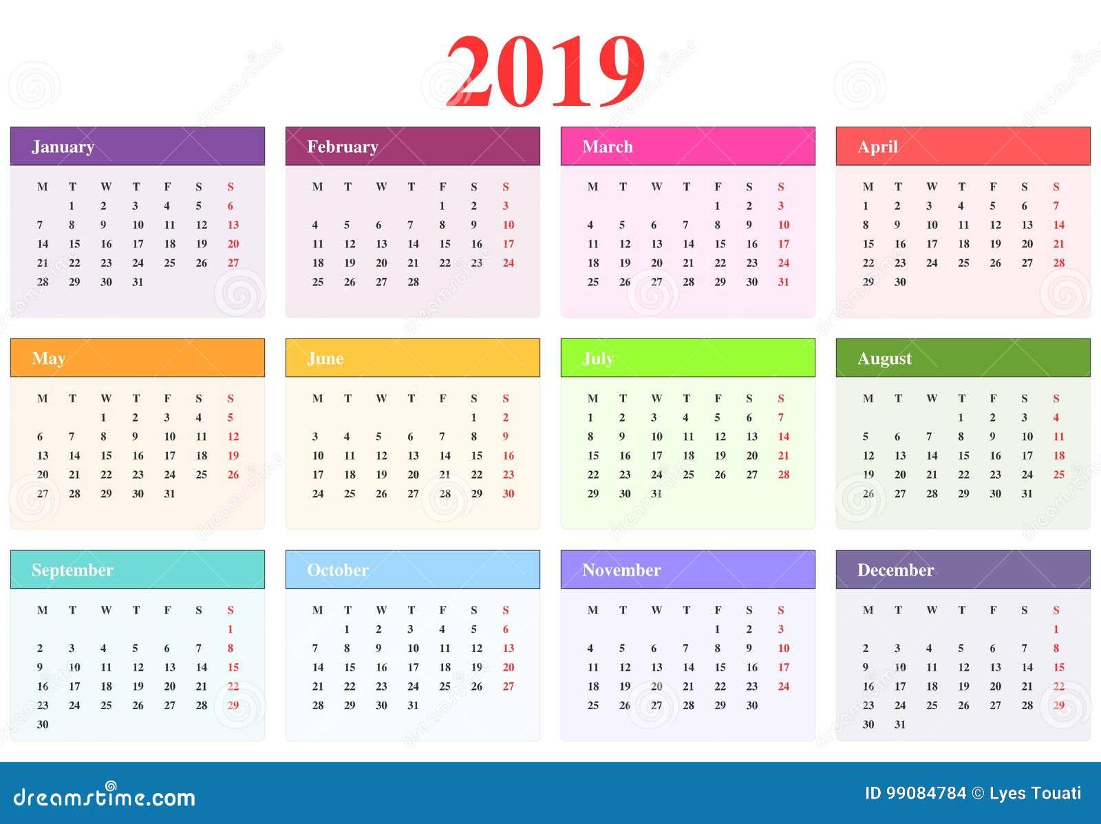 Calendario 2019 ilustración del vector. Ilustración de año ...