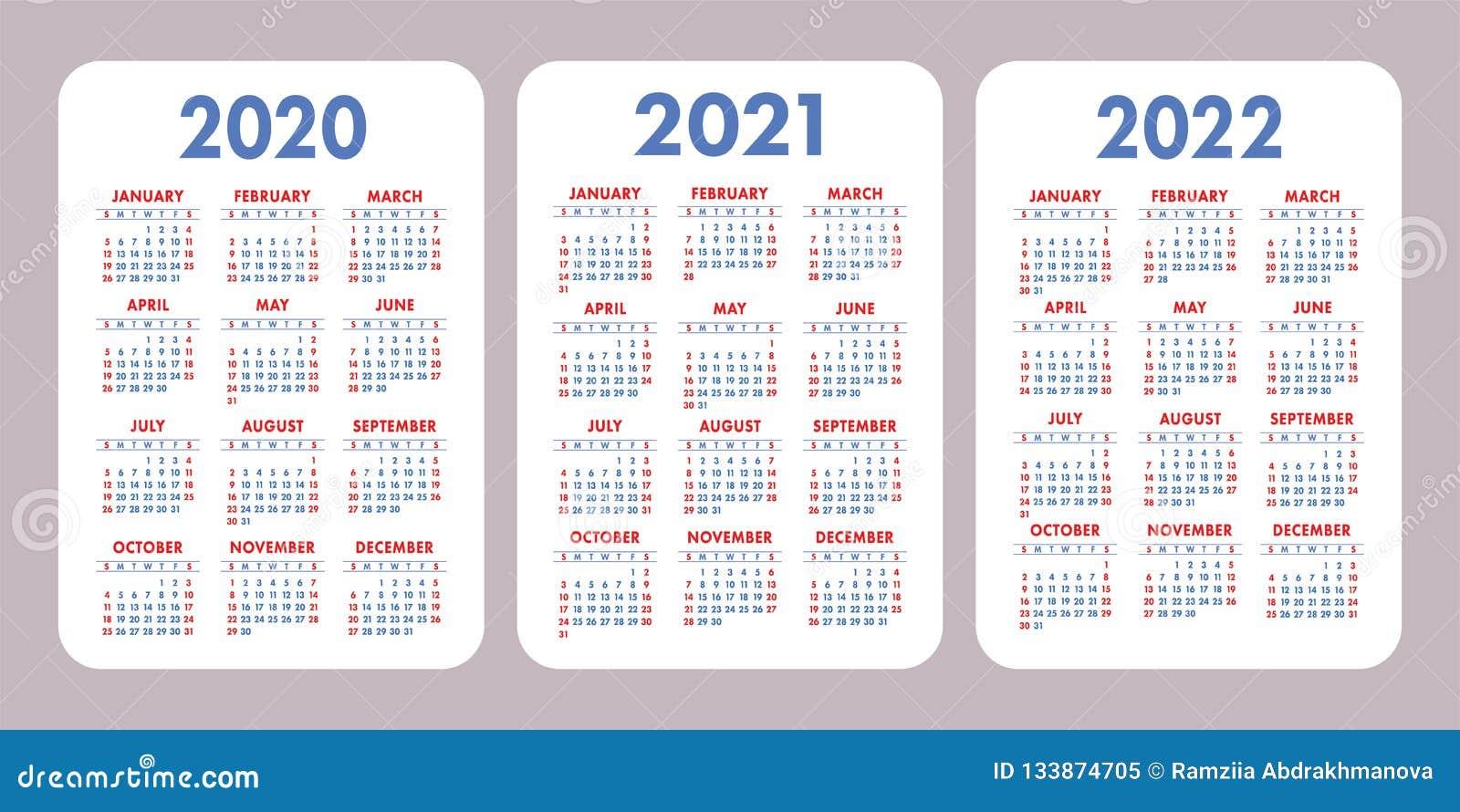 Calendario Diario 2020.Calendario 2020 2021 2022 Anos Diseno Vertical Del