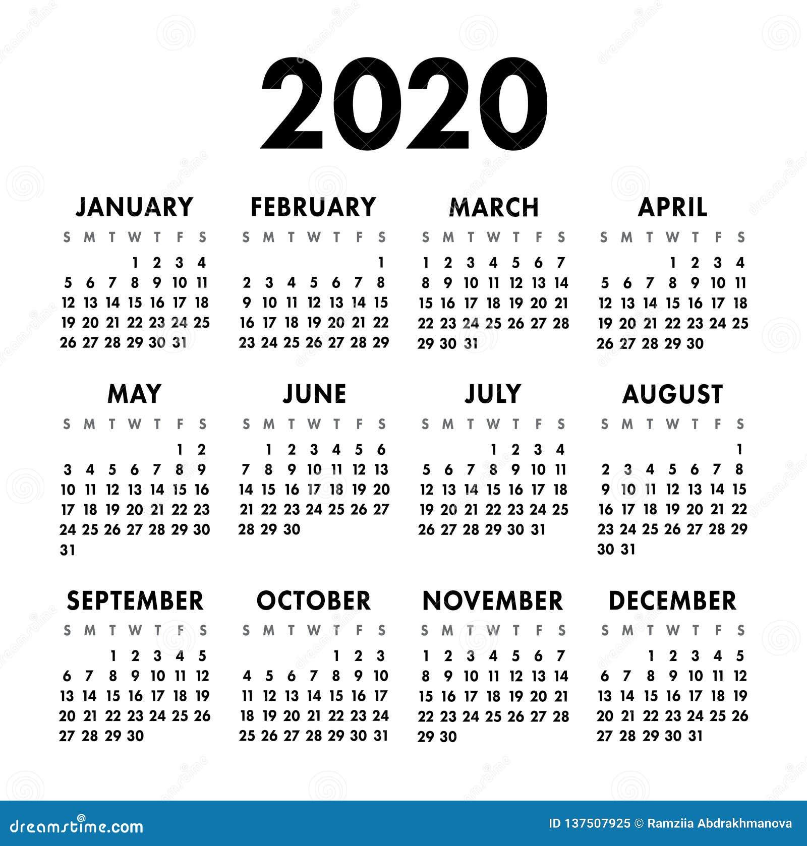 Calendario Dibujo Blanco Y Negro.Calendario Organizador 2020