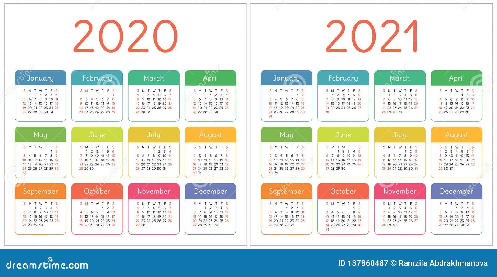Calendario 2020 2021 Gratis Calendario 2020, 2021 Años Sistema Colorido Comienzo De La Semana