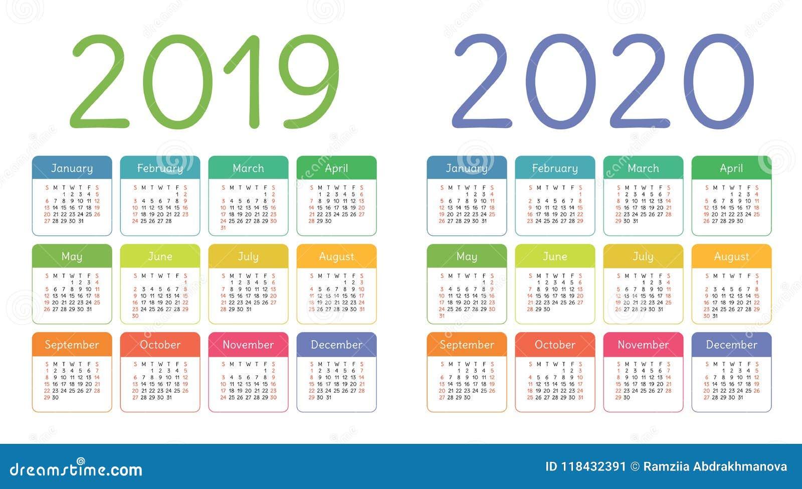 Calendario Del Ano 2020 En Espanol.Calendario 2019 2020 Anos Sistema Colorido Del Calendario