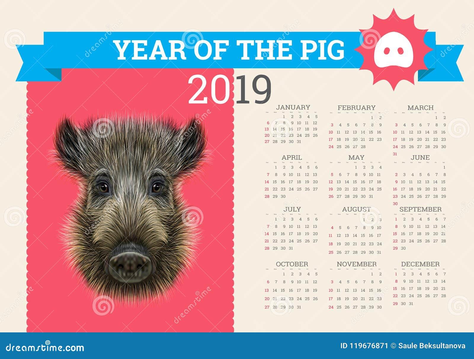 Calendario 2020 Editabile.Calendario Alla Moda Del Maiale Per 2019 Modello Editabile