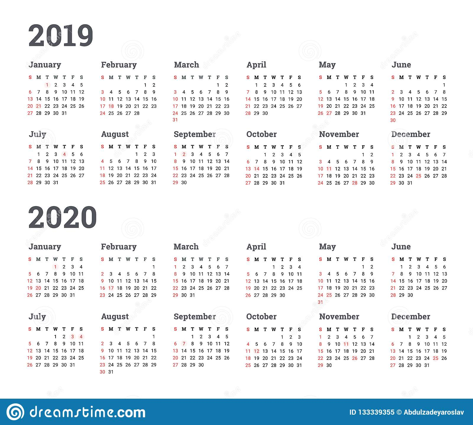 Calendario Trimestrali 2020.Calendario 2019 2020 Anni Illustrazione Inizio Di