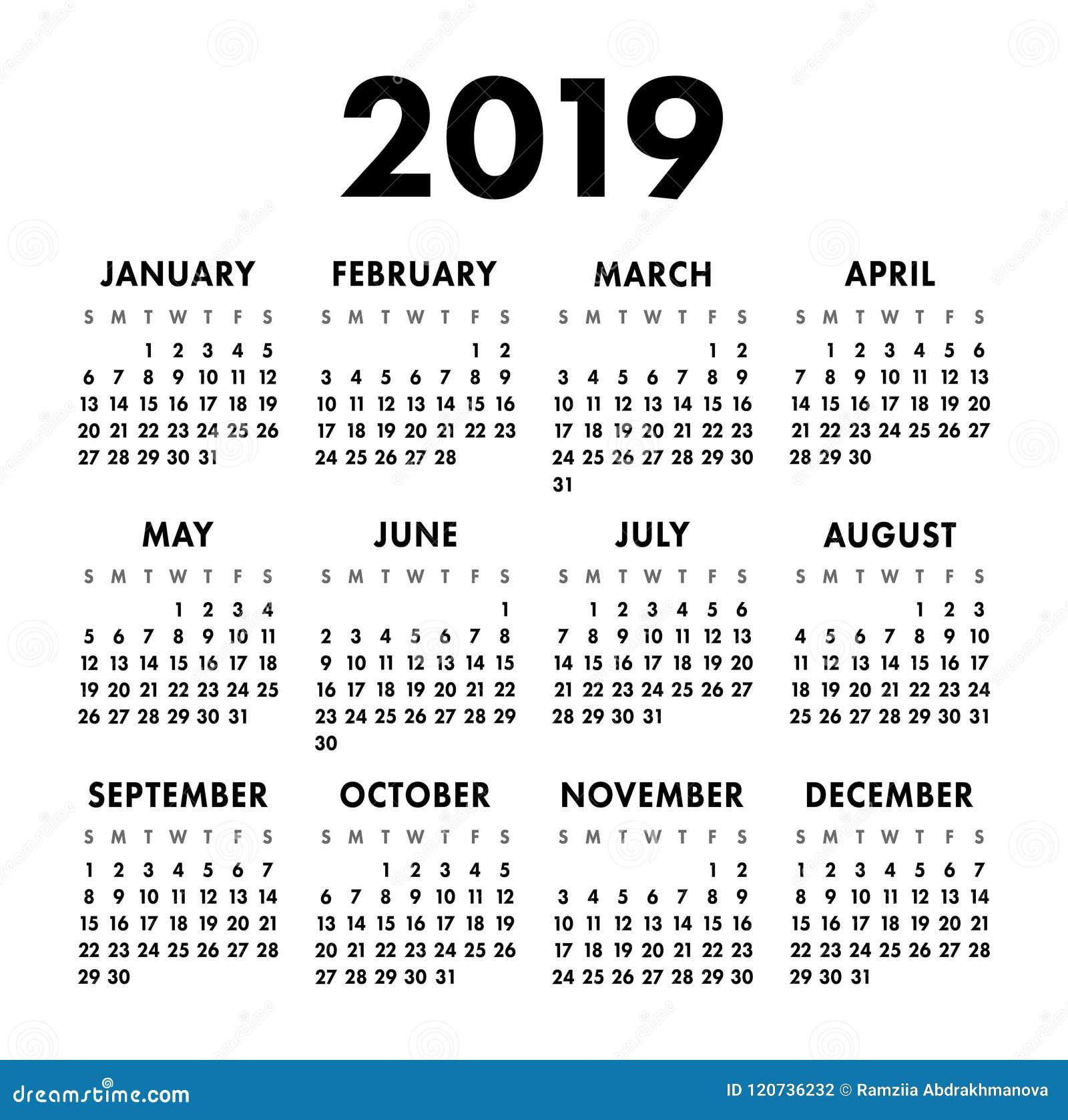 Calendario Numero Settimana 2019.Calendario 2019 Anni Modello In Bianco E Nero Di Vettore