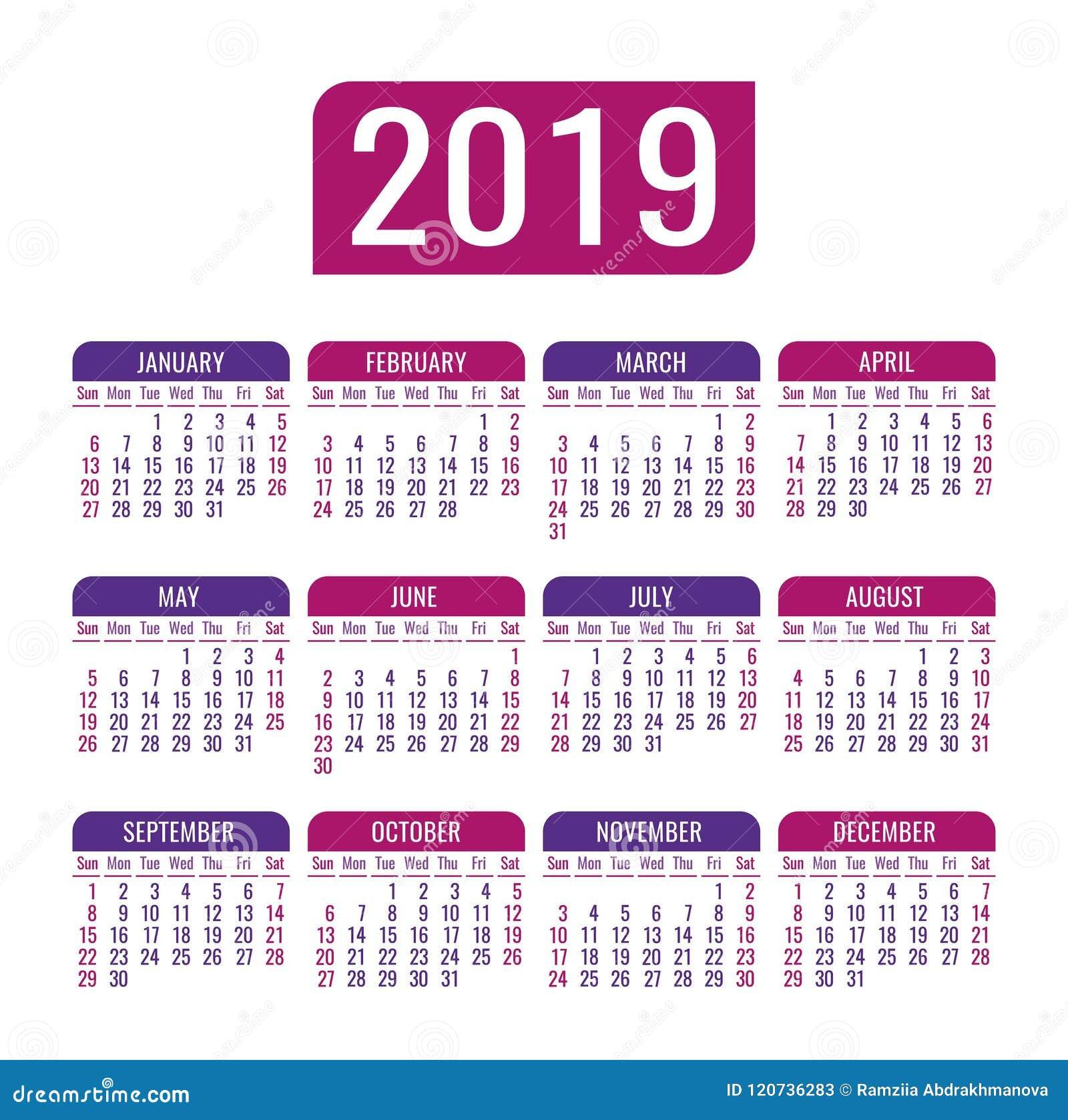 Modelli Calendario 2019.Calendario 2019 Anni Modello Di Vettore Inizio Di Settimana
