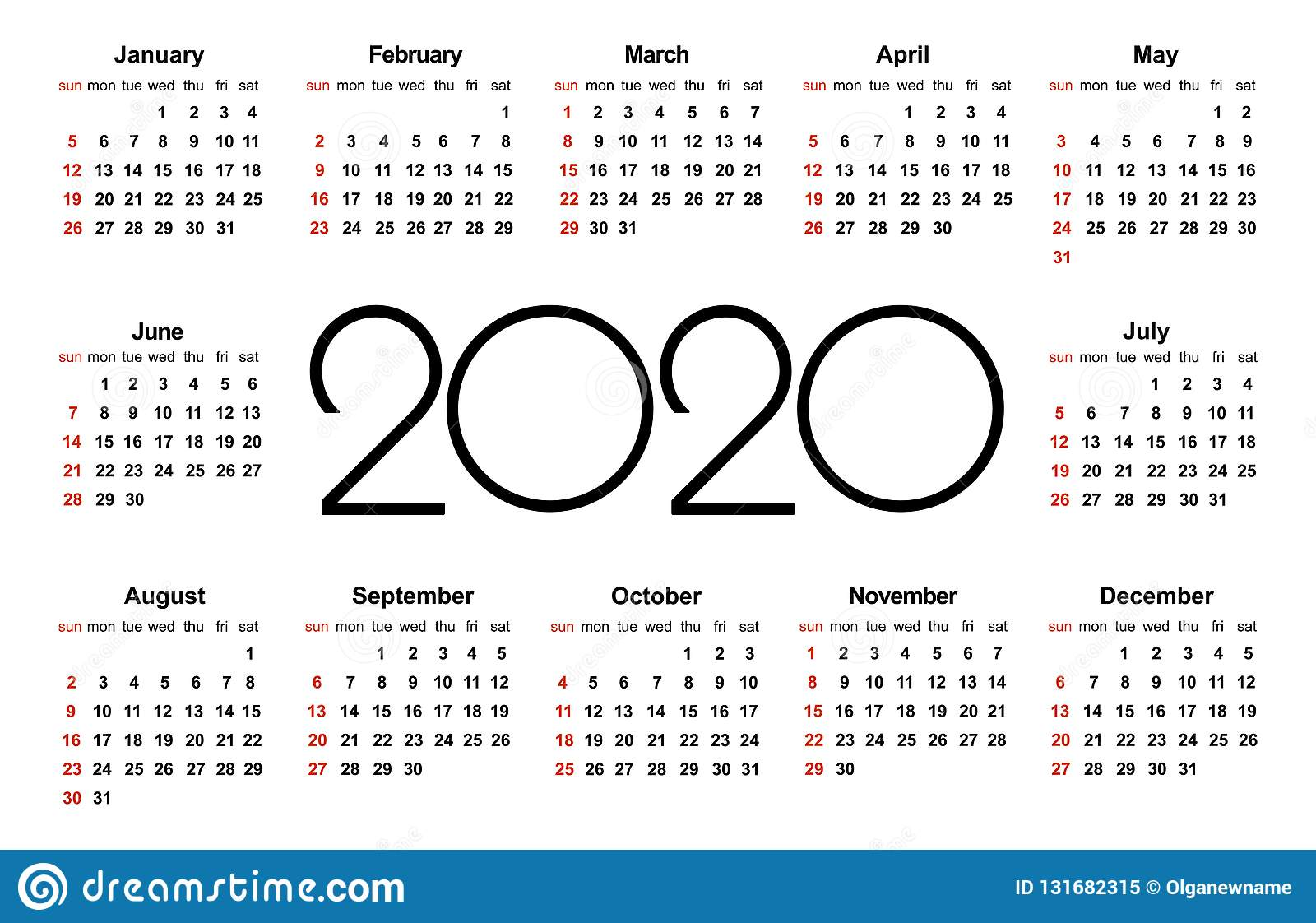 Calendario Italiano 2020 Con Festivita.Calendario 2020 Anni Modello Semplice Di Vettore Modello Di