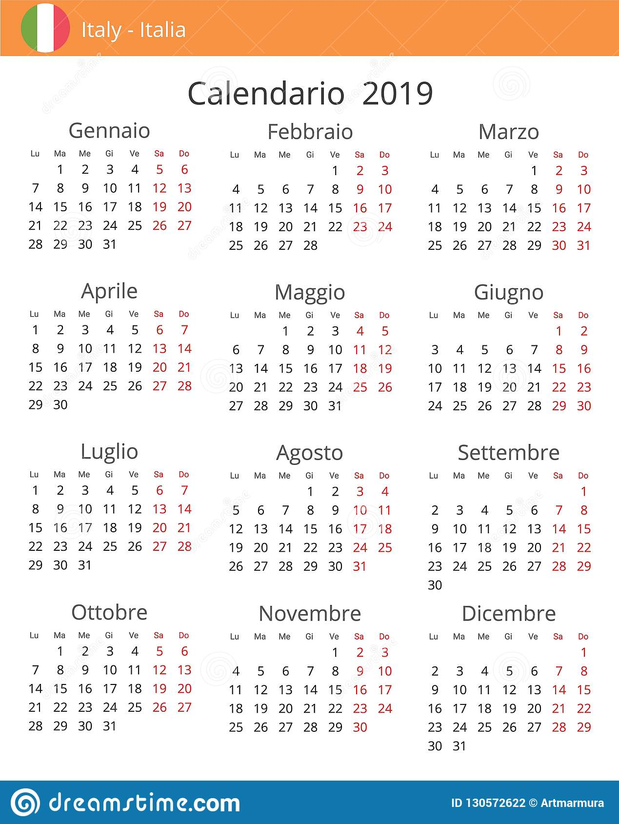 Italia Calendario.Calendario 2019 Anni Per Il Paese Dell Italia Illustrazione