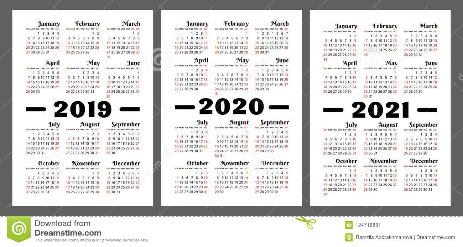 Calendario Settimane Anno 2019.Calendario 2019 2020 2021 Anno Insieme Variopinto Di