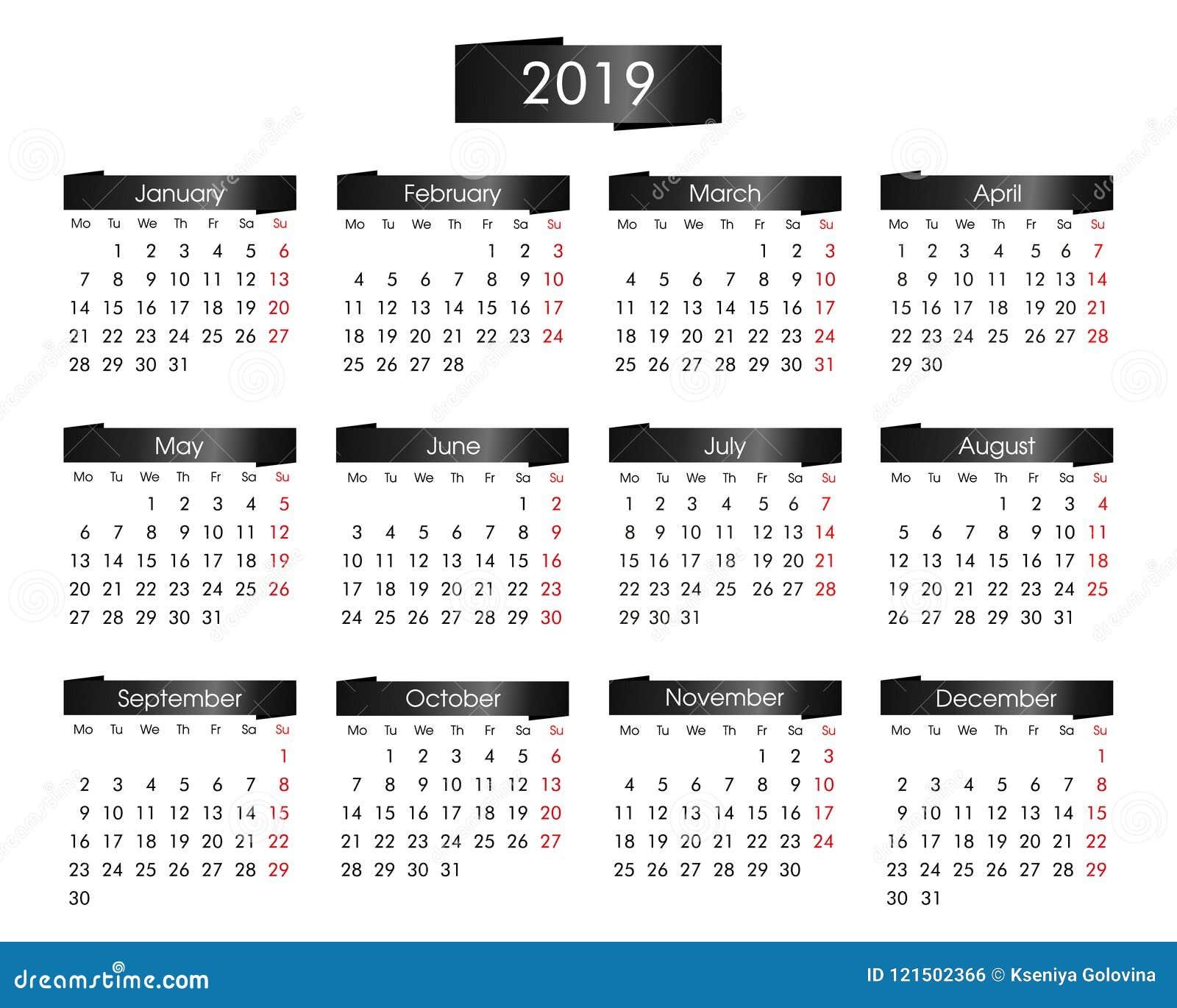 Calendario anual por 2019 años con el negro metálico