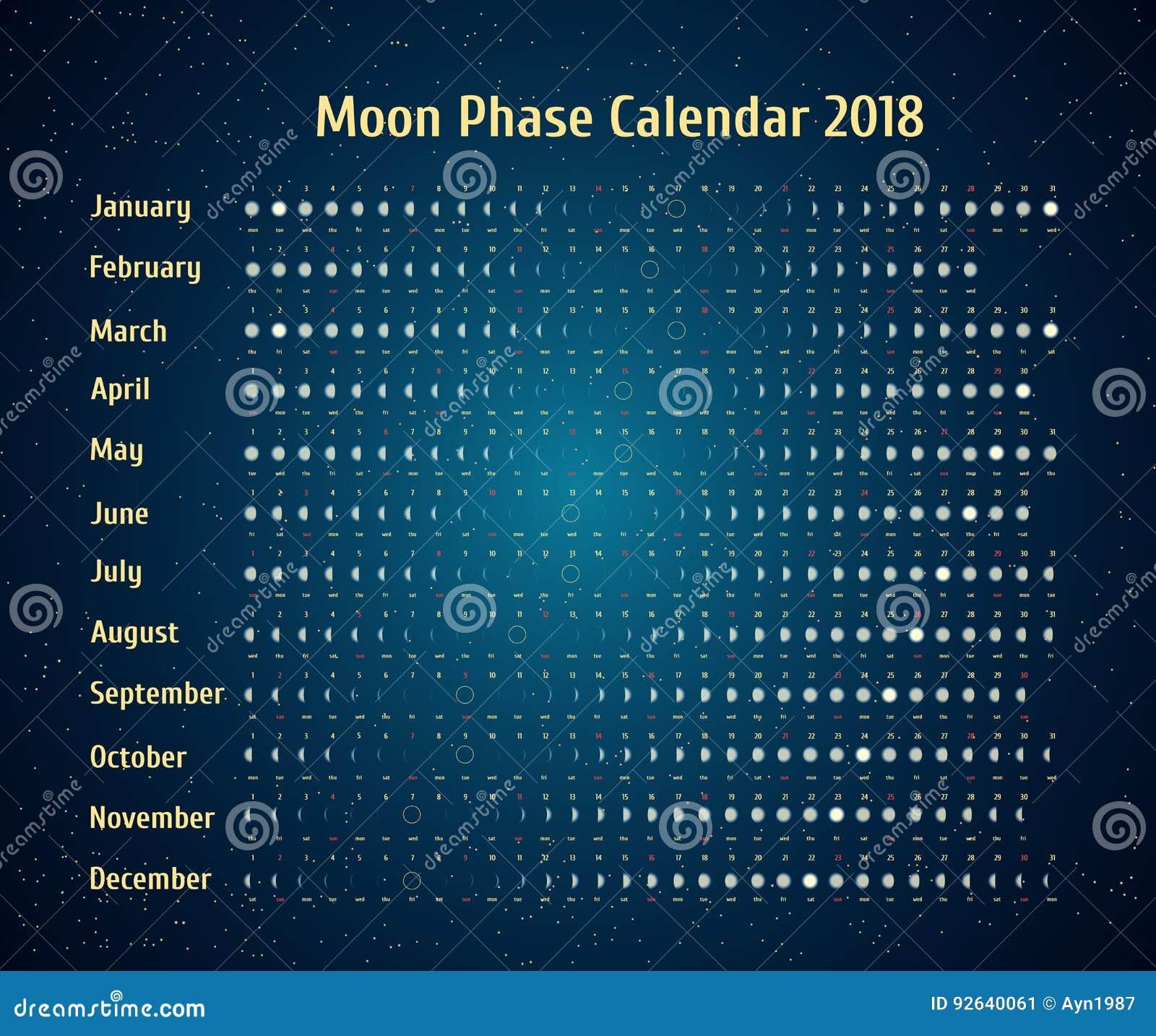 Calendario astrologico di vettore per 2018 Moon il calendario di fase nel cielo stellato di notte Calendario lunare creativo con