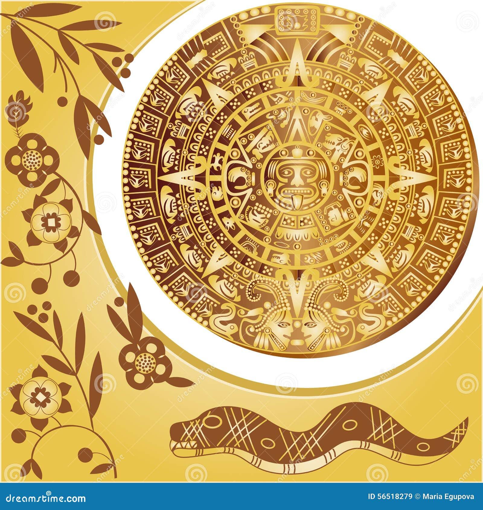 Calendario Azteca Vectores.Calendario Azteca Ilustracion Del Vector Ilustracion De