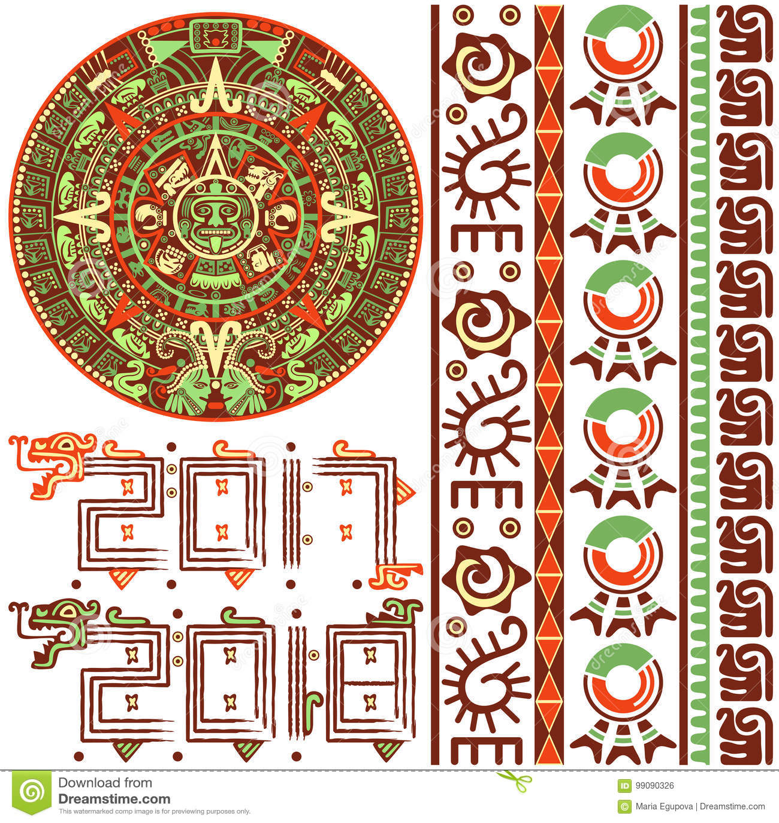 Calendario Azteca Vectores.Calendario Azteca Con Los Ornamentos Ilustracion Del Vector