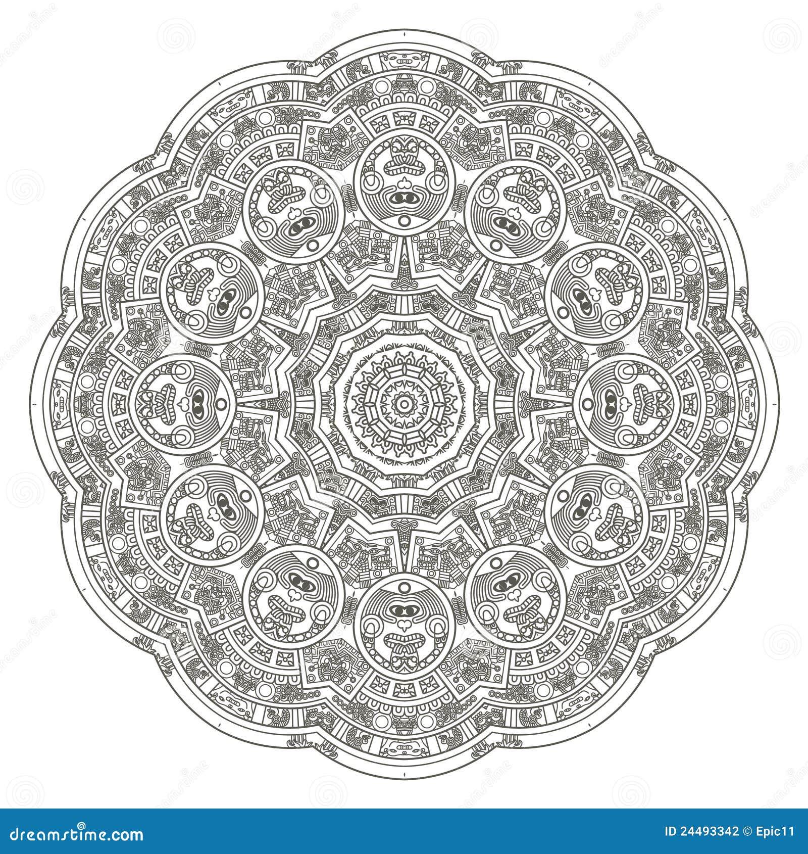 Calendario Azteca Vectores.Calendario Azteca Estilizado Ilustracion Del Vector