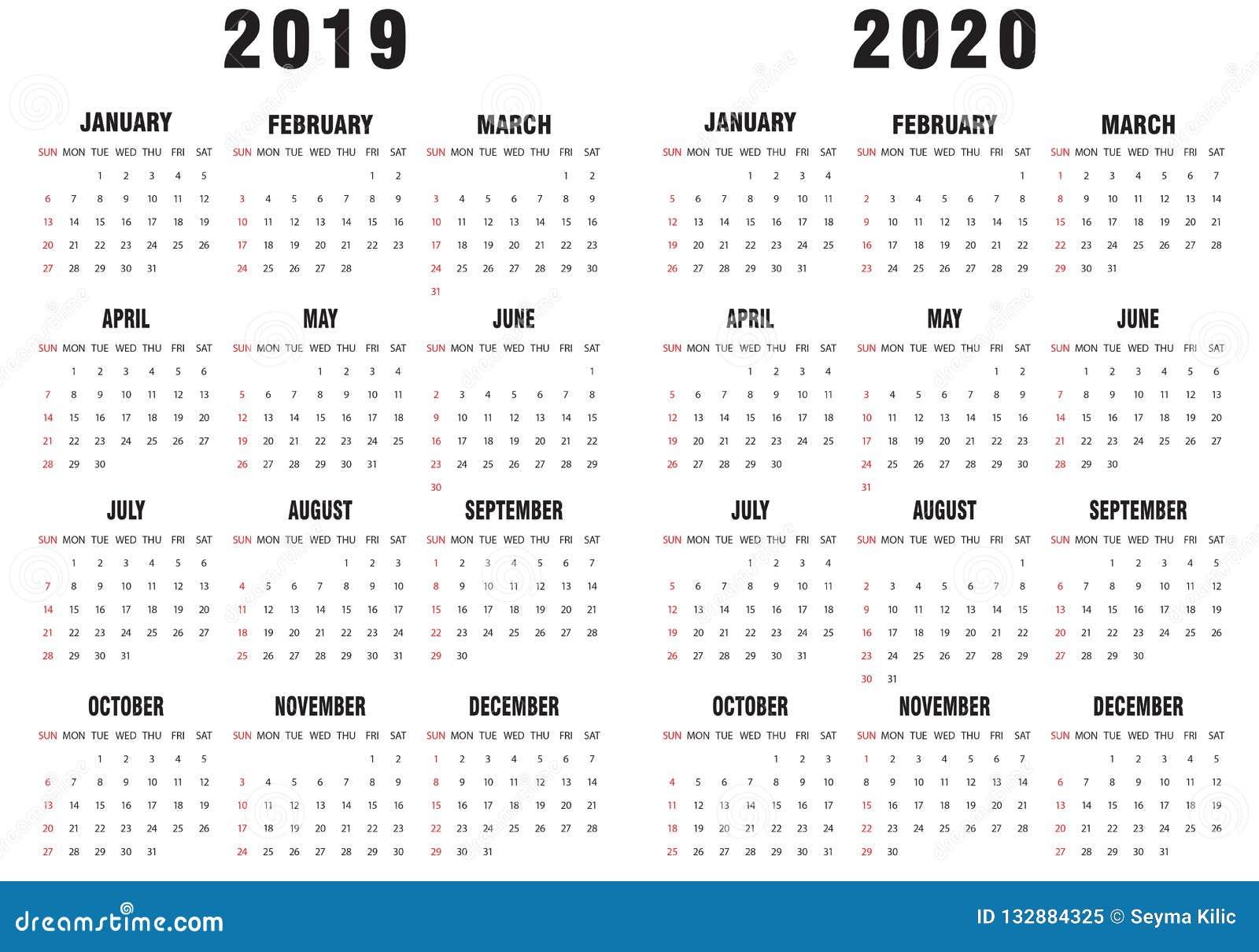 Calendario En Blanco.2019 2020 Calendario Blanco Y Negro Ilustracion Del Vector