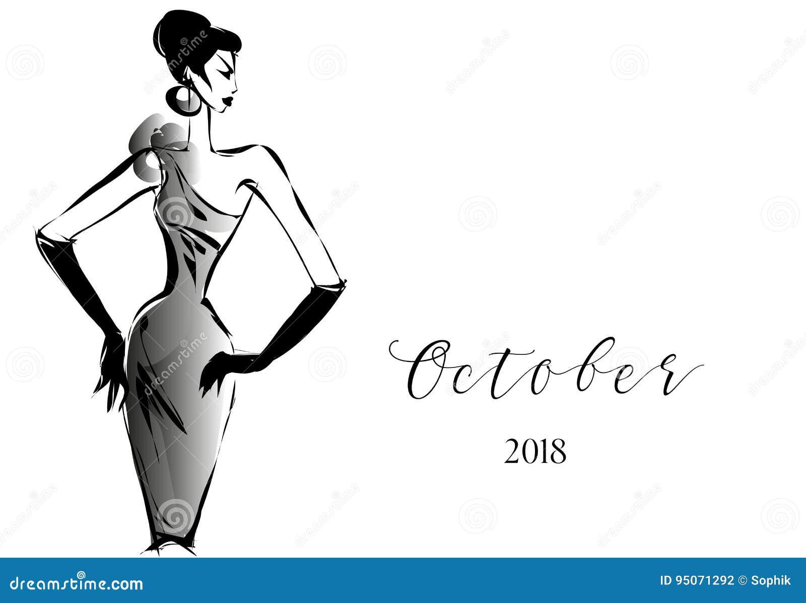 ef1dad42bef1 Calendario Blanco Y Negro De La Moda Con El Logotipo De La Silueta ...