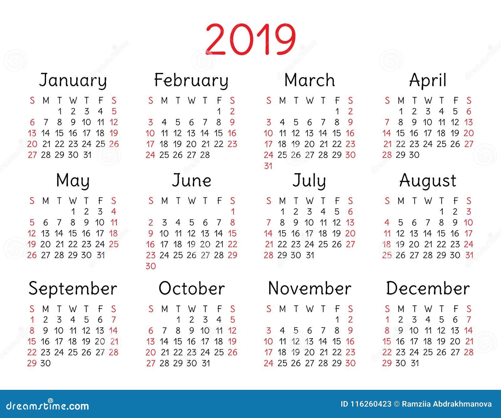 Semana Calendario.Calendario 2019 Bolsillo Comienzo De La Semana El Domingo