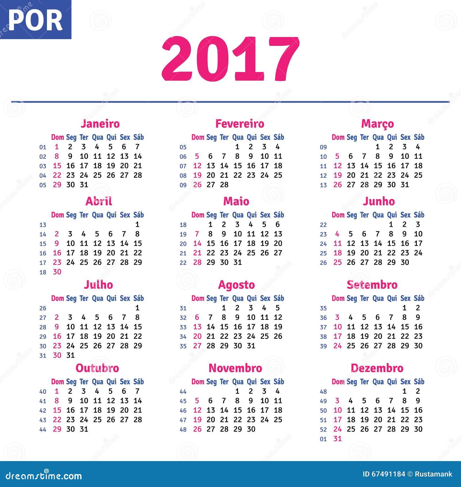 Calendario (brasileño) Portugués 2017 Ilustración del Vector ...