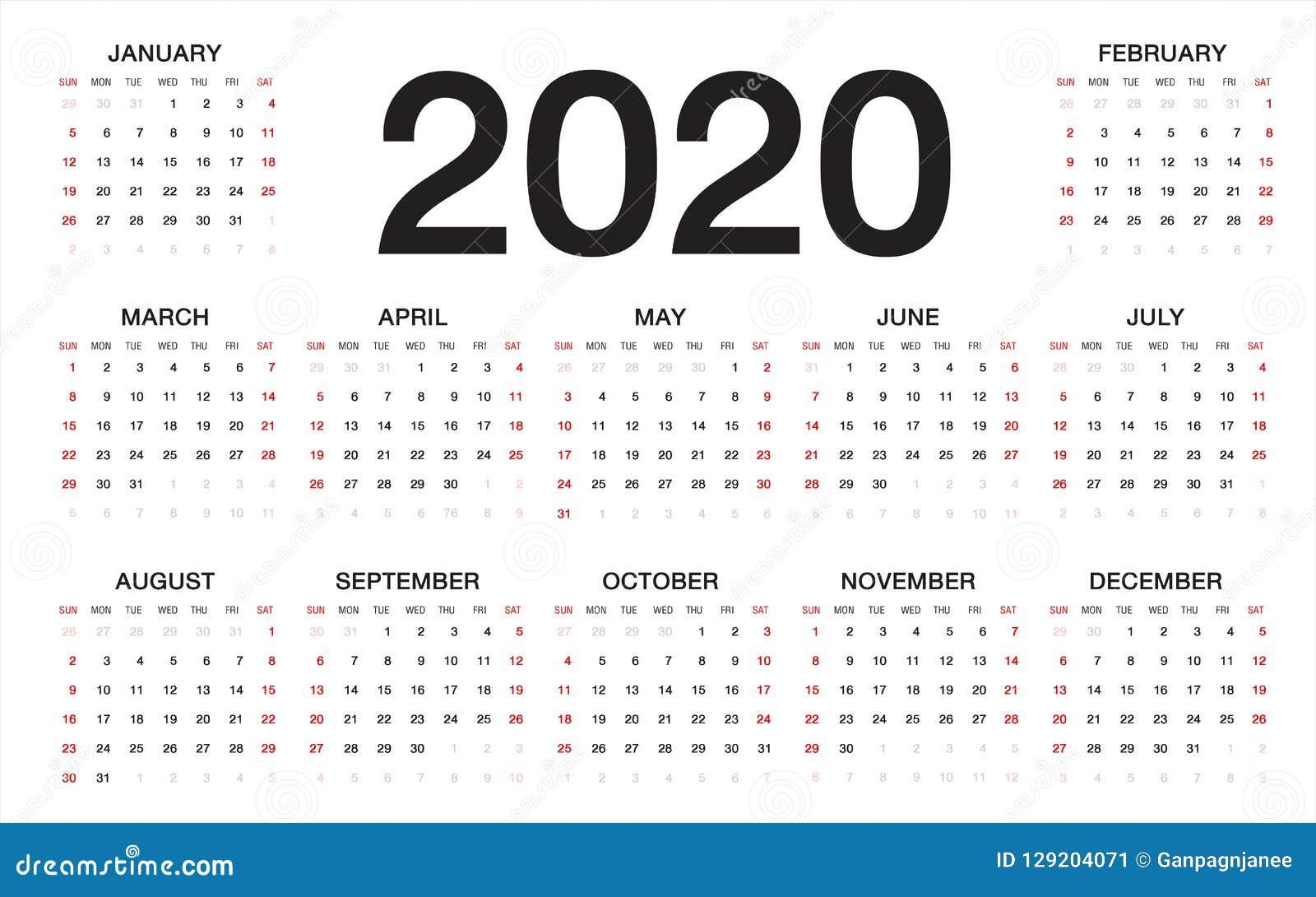 Calendario Diario 2020.Calendario 2020 Comienzo De La Semana De Domingo Plantilla