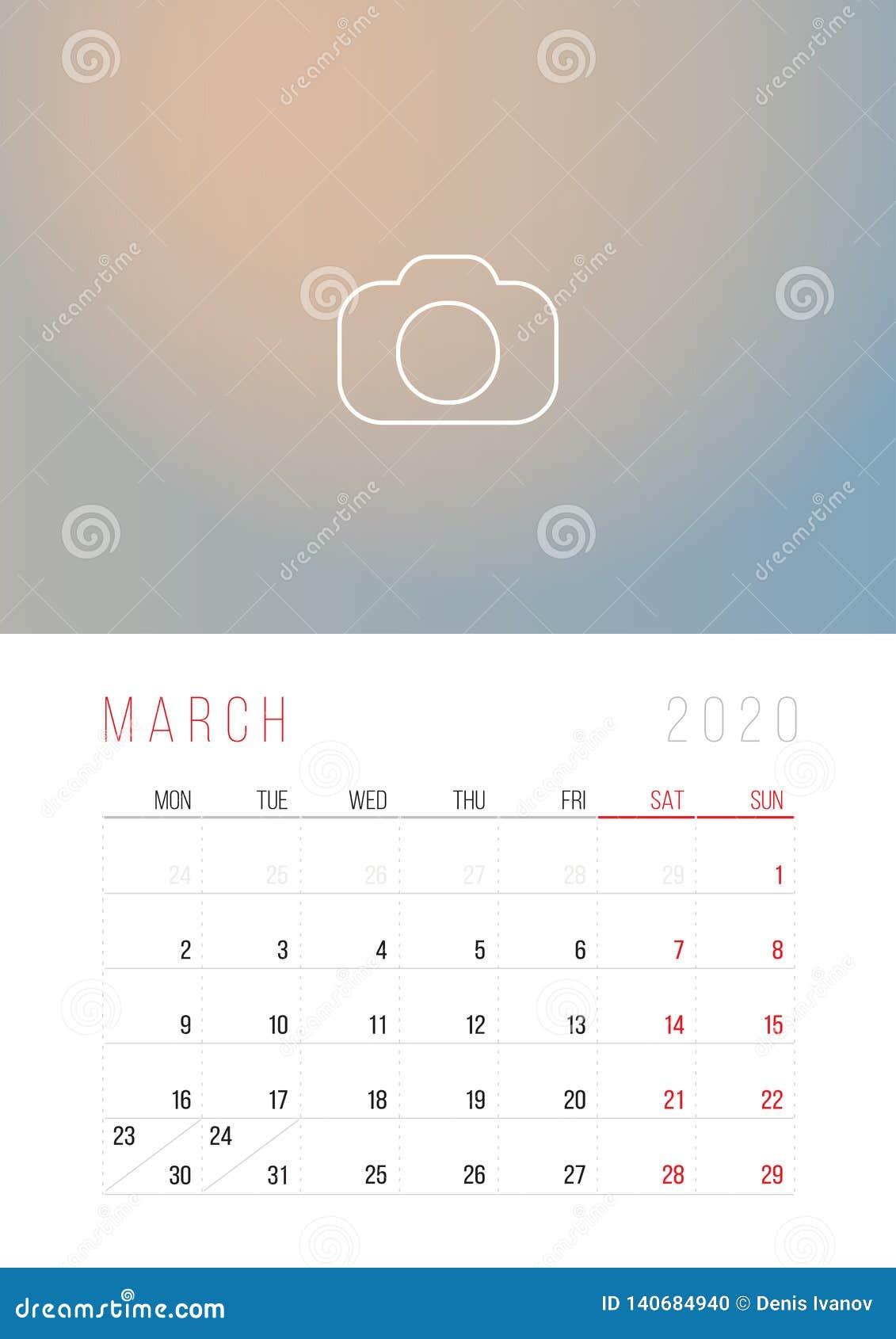 Imprimir Calendario 2020 Por Meses.Calendario 2020 Comienzo De La Semana El Lunes Ilustracion Del